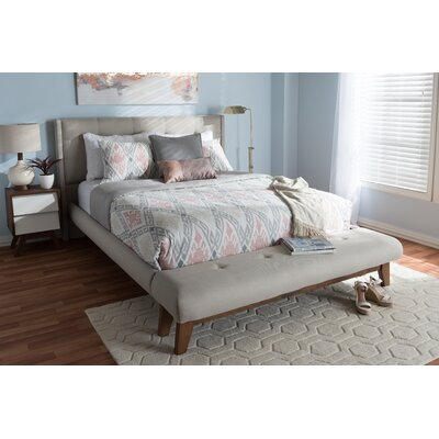 Serena Fabric Upholstered Platform Bed Size: Full, Color: Light Beige