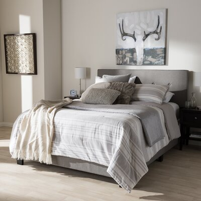 Sampson Fabric Upholstered Panel Bed Size: King, Color: Light Gray