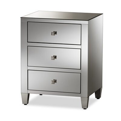 Kaplan Mirrored 3 Drawer Nightstand