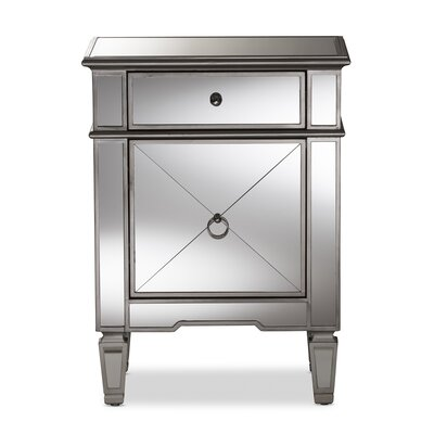 Baxton Studio Ricarda Hollywood Regency Mirrored 1 Drawer Nightstand