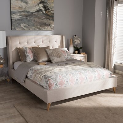 Baxton Studio Elisabetta Upholstered Platform Bed Upholstery: Light Beige, Size: Queen