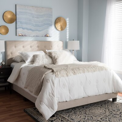 Emilia Upholstered Panel Bed Size: King, Color: Beige