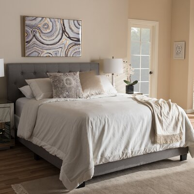 Emilia Upholstered Panel Bed Size: King, Color: Gray