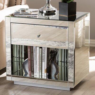 Kaplan Hollywood Regency Glamour Style Mirrored 1 Drawer Nightstand