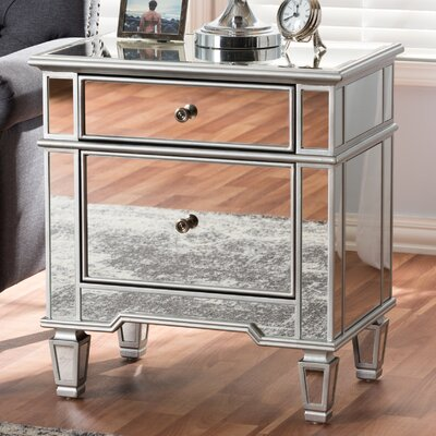 Baxton Studio Mercede Hollywood Regency Glamour Style Mirrored 2 Drawer Nightstand