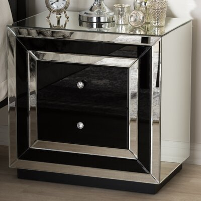 Kaplan Hollywood Regency Glamour Style Mirrored 2 Drawer Nightstand