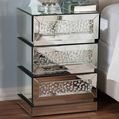 Baxton Studio Ricarda Hollywood Regency Glamour Style Mirrored 3 Drawer Nightstand