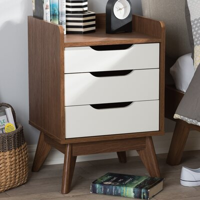 Gavin Wood 3 Drawer Nightstand