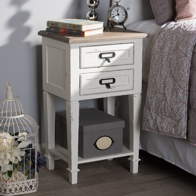 Bryan Wood 2 Drawer Nightstand
