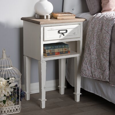 Fleurance Wood 1 Drawer Nightstand