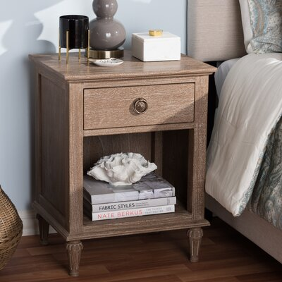 Michel 1 Drawer Nightstand Color: Gray Wash