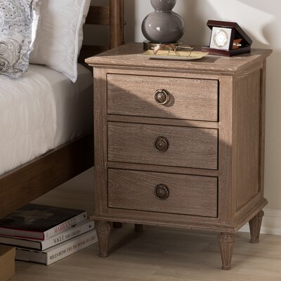 Michel 3 Drawer Nightstand Color: Gray Wash