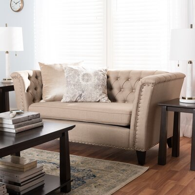 Stony Point Fabric Button Tufted Loveseat Upholstery: Beige