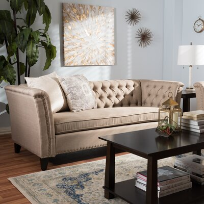 Stony Point Fabric Button Tufted Sofa Upholstery: Beige