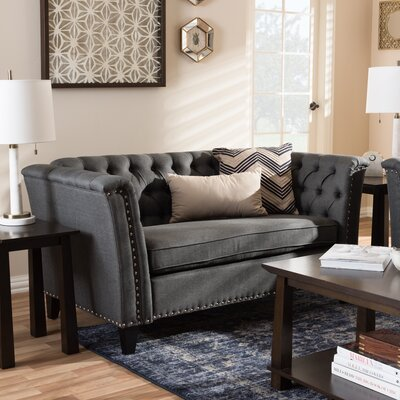 Stony Point Fabric Button Tufted Loveseat Upholstery: Gray