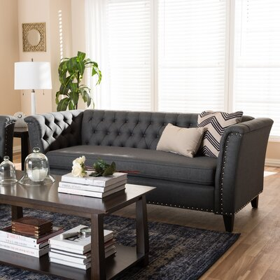 Stony Point Fabric Button Tufted Sofa Upholstery: Gray