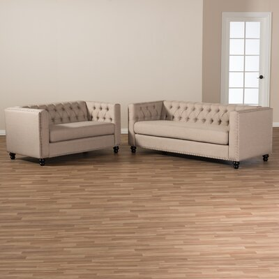 Stonybrook Fabric Button Tufted 2 Piece Loveseat and Sofa Set Upholstery: Beige