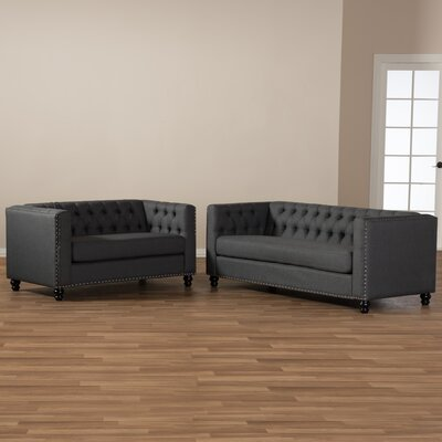 Stonybrook Fabric Button Tufted 2 Piece Loveseat and Sofa Set Upholstery: Gray