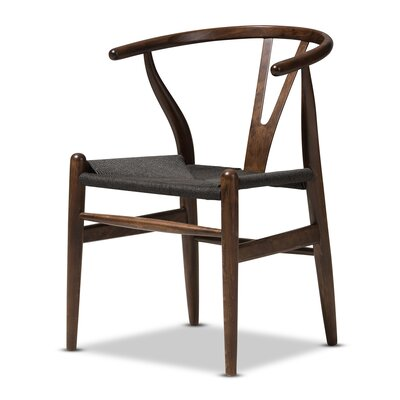 Baxton Studio Wishbone Solid Wood Dining Chair Upholstery Color: Dark Brown with Black Seat
