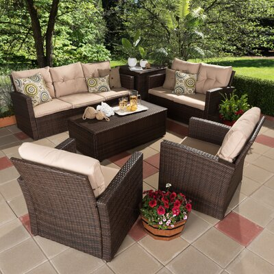 Dessie 6 Piece Rattan Sofa Set with Cushions