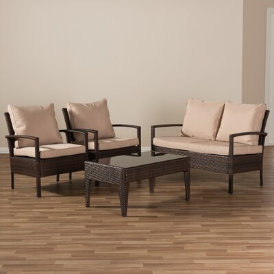 Dessie 4 Piece Rattan Sofa Set with Cushions