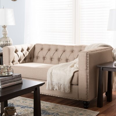 Stonybrook Modern 2 Seater Chesterfield Loveseat Upholstery: Beige