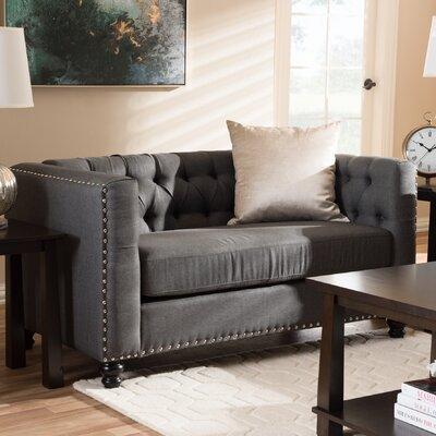 Stonybrook Modern 2 Seater Chesterfield Loveseat Upholstery: Gray