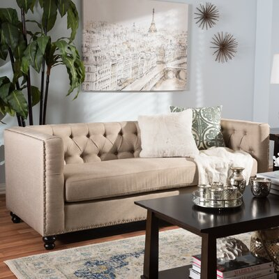 Stonybrook Modern 3 Seater Chesterfield Sofa Upholstery: Beige