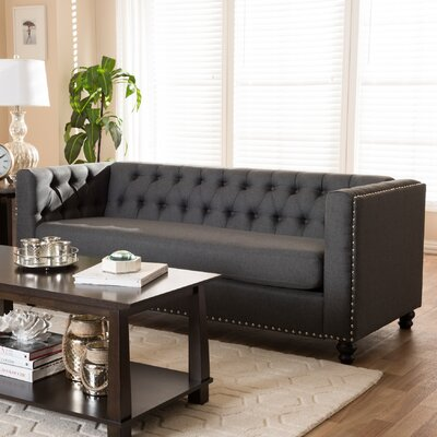 Stonybrook Modern 3 Seater Chesterfield Sofa Upholstery: Gray