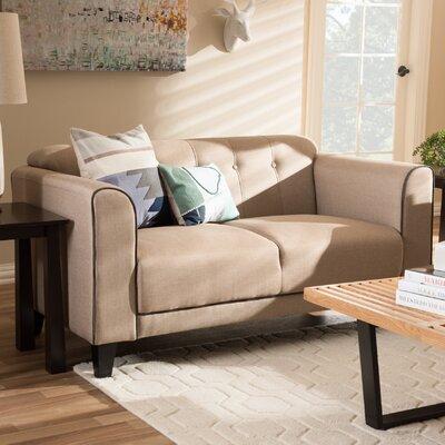Summerhill Modern 2 Seater Standard Loveseat Upholstery: Beige