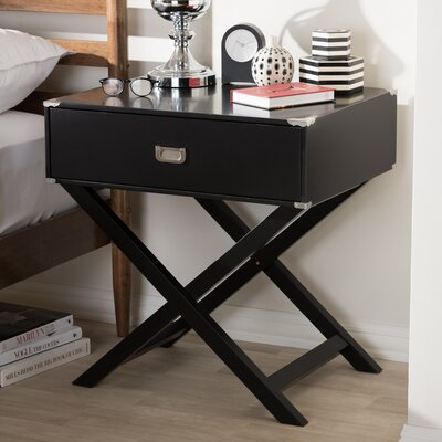 Haffey 1-Drawer Nightstand Color: Black