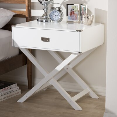 Haffey 1-Drawer Nightstand Color: White