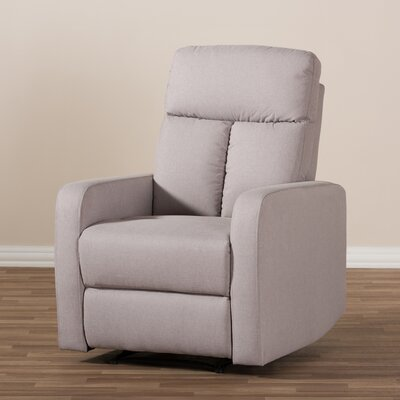 Jinnie Modern And Contemporary Push Button Recliner Upholstery: Light Brown