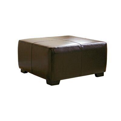 Baxton Studio Hortensio Square Leather Ottoman Upholstery: Dark Brown