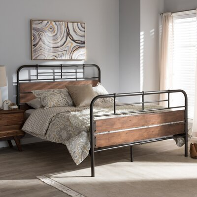 Jenafir Rustic Industrial Queen Platform Bed