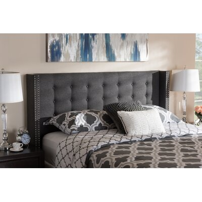 Bella Modern and Contemporary Upholstered Wingback Headboard Size: Full, Color: Dark Gray