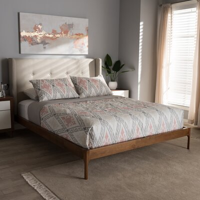 Bonnie Upholstered Platform Bed Size: Full, Color: Light Beige
