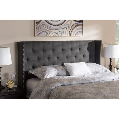 Buswell Upholstered Wingback Headboard Size: Queen, Upholstery: Dark Gray