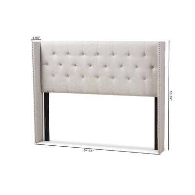 Buswell Upholstered Wingback Headboard Size: King, Upholstery: Grayish Beige
