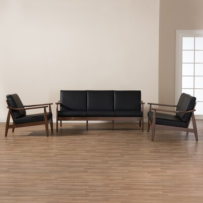 Kellner Mid-Century Modern 3 Piece Wood Frame Living Room Set