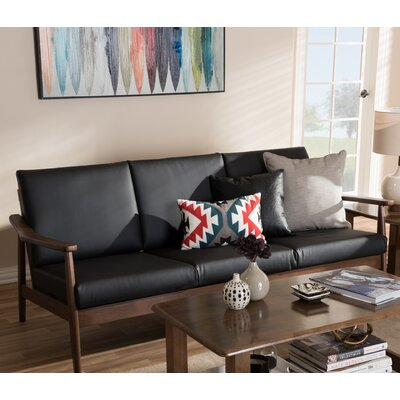 Kellner Mid-Century Modern Faux leather Sofa