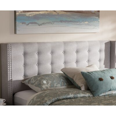 Bella Modern and Contemporary Upholstered Wingback Headboard Size: Queen, Color: Grayish Beige