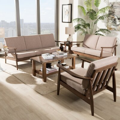Kellner Mid-Century Modern 3 Piece Living Room Set