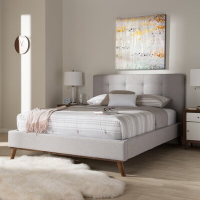 Wadlington Upholstered Platform Bed Size: Queen, Color: Grayish Beige
