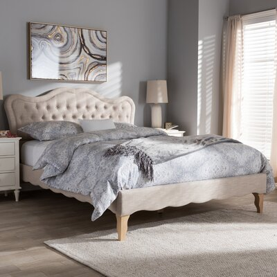 Adalheida Upholstered Platform Bed Size: King, Color: Beige