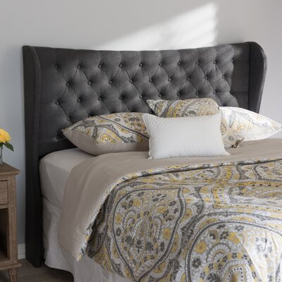 Estefana Upholstered Wingback Headboard Size: King, Upholstery: Dark Gray