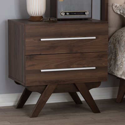 Shortt 2 Drawer Nightstand Color: Walnut