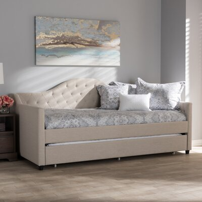 Freddie Daybed with Trundle Color: Light Beige