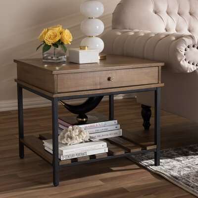 Pillar Rustic Industrial Style End Table