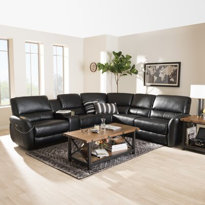 Polett Power Reclining Sectional with USB Ports Upholstery: Black